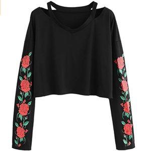 832cba80b Roses Printed Long Sleeve Off Shoulder Crop Top